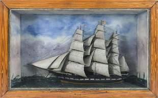 SHADOW BOX MODEL OF AN AMERICAN-FLAGGED SAILING SHIP