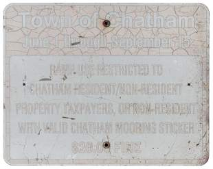 CHATHAM, MASSACHUSETTS BOAT RAMP SIGN Mid-20th Century