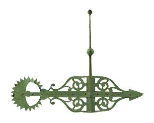 CAST IRON BANNERETTE WEATHER VANE Early 20th Century