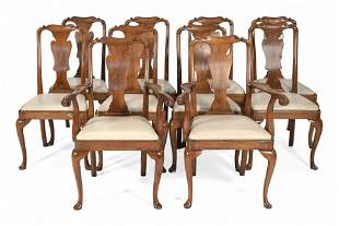 SET OF TEN QUEEN ANNE-STYLE CHAIRS Late 19th Century