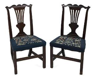 """PAIR OF HEPPLEWHITE SIDE CHAIRS Back heights 38"""". Seat"""