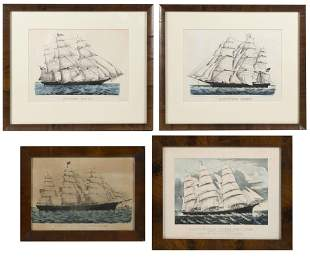 FOUR CURRIER & IVES SHIP PORTRAIT LITHOGRAPHS America,