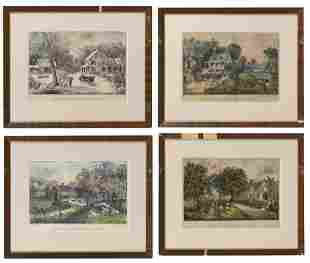 "FOUR CURRIER & IVES ""AMERICAN HOMESTEAD"" LITHOGRAPHS"