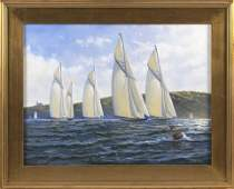 """PAINTING OF A YACHT RACE Oil on canvas, 18"""" x 24""""."""