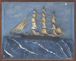 FOLK ART SHADOW BOX SHIP DIORAMA 20th Century Height