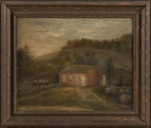AMERICAN SCHOOL (Late 19th Century,), Pastoral folk art