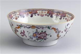 CHINESE EXPORT FAMILLE ROSE PORCELAIN BOWL 19th Century