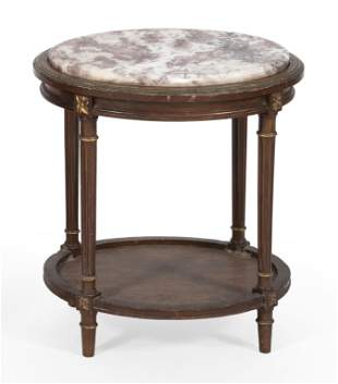 """MARBLE-TOP STAND 20th Century Height 23.25"""". Top 17"""" x"""