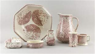 SEVEN-PIECE ENGLISH IRONSTONE TRANSFERWARE CHAMBER SET