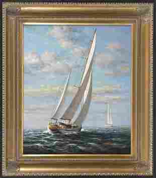D. TAYLER   Contemporary  Two sailing yachts off the