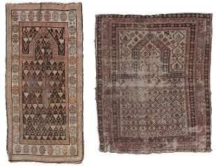 CAUCASIAN AND TURKISH PRAYER RUGS: 3�7� X 4�4� AND