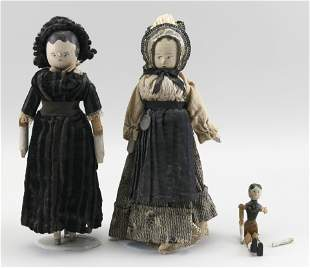 THREE WOODEN PEG DOLLS