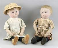 TWO MARTHA CHASE PAINTED OILCLOTH DOLLS