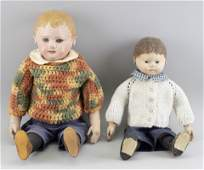 TWO MARTHA CHASE PAINTED OILCLOTH CHILD DOLLS