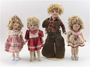 FOUR COMPOSITION SHIRLEY TEMPLE DOLLS