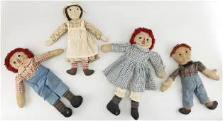 FOUR RAGGEDY ANNE AND ANDY DOLLS