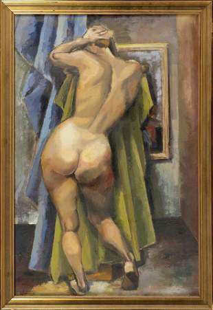 AMERICAN SCHOOL 20th Century Standing female nude in an