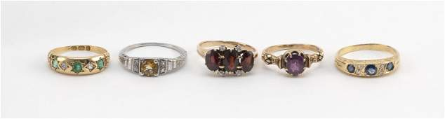 FIVE ANTIQUE GOLD AND GEM-SET RINGS 1) White gold,