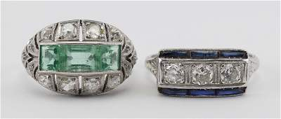 TWO ART DECO PLATINUM AND DIAMOND RINGS Both unmarked.