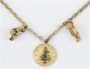 SIX VINTAGE GOLD CHARMS 1-4) Four teddy bears. One