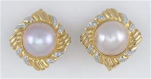 PAIR OF 14KT GOLD, MABE PEARL AND DIAMOND EARRINGS Post