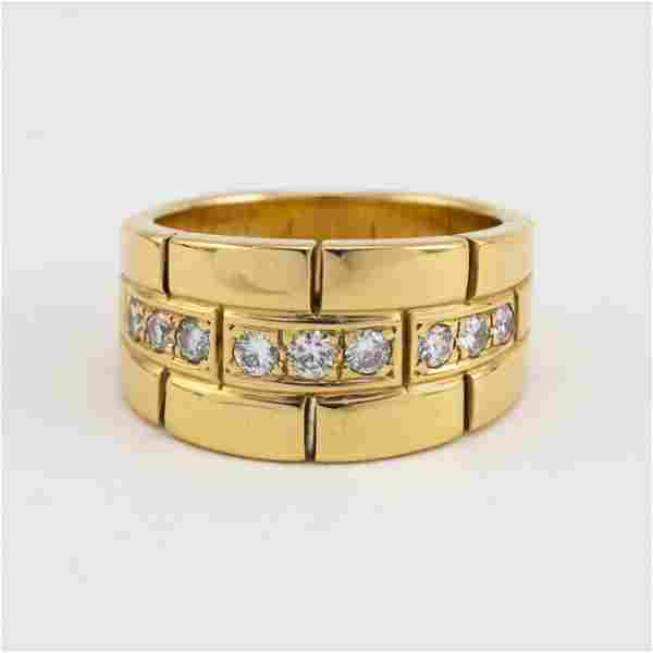 CARTIER 18KT GOLD AND DIAMOND RING Nine pave-set