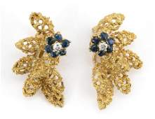 PAIR OF VINTAGE TIFFANY & CO. 18KT GOLD, SAPPHIRE AND