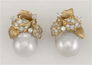 PAIR OF GOLD, CULTURED BAROQUE PEARL AND DIAMOND