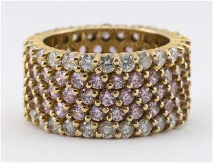 GOLD, PINK SAPPHIRE AND DIAMOND CIGAR BAND RING Allover
