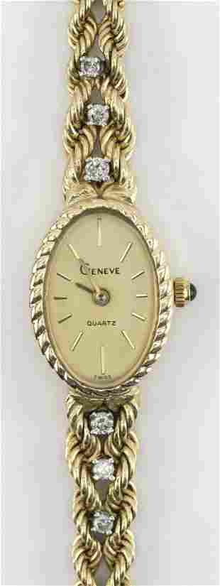 VINTAGE GENEVE 14KT GOLD AND DIAMOND WOMAN'S WATCH