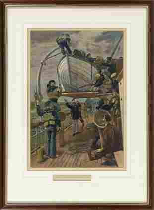 """COLOR LITHOGRAPH """"EXERCISING THE CREW - THE LIFEBOAT"""