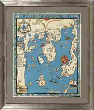 """REPRODUCTION DECORATIVE MAP """"BOOTHBAY HARBOR AND"""