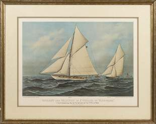 """CURRIER & IVES AMERICA'S CUP PRINT 19th Century 16"""" x"""