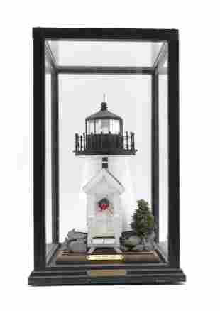 SMALL DIORAMA OF NANTUCKET'S BRANT POINT LIGHTHOUSE
