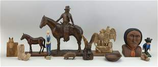 COLLECTION OF TWELVE WOOD CARVINGS BY JULIUS RANDOLPH
