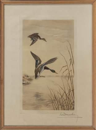 LEON DANCHIN (America/France, 1887-1938), Mallard ducks