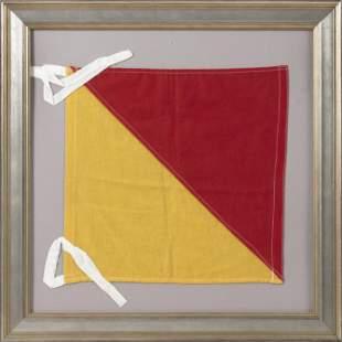"NAUTICAL ""O"" OR ""OSCAR"" ALPHABET SIGNAL FLAG 20th"