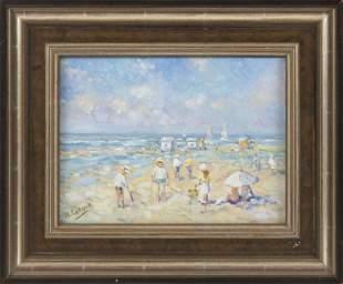 NICOLE LACEUR (France, b. 1967), Beach scene., Oil on