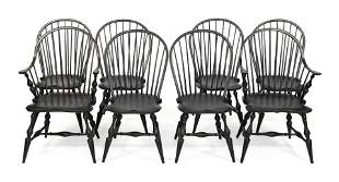 EIGHT REPRODUCTION WINDSOR CHAIRS 20th Century Back