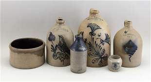 SIX NEW YORK STONEWARE ITEMS 19th Century Heights from
