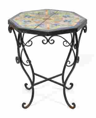 """POTTERY TILE-TOP TABLE Late 20th Century Height 20""""."""