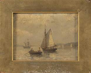 SMALL MARITIME PAINTING Mid-19th Century Oil on paper