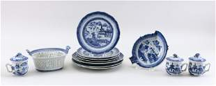 TWELVE PIECE OF CHINESE EXPORT BLUE AND WHITE CANTON