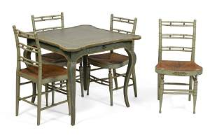 MINTON-SPIDELL GAMES TABLE AND FOUR SHERATON-STYLE