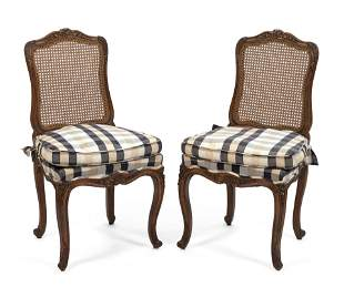 PAIR OF FRENCH CARVED SIDE CHAIRS Early to Mid-20th