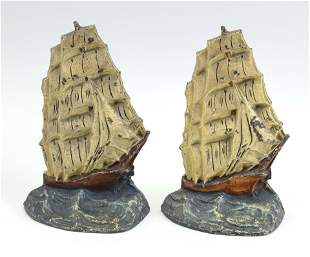 TWO PAINTED CAST IRON CLIPPER SHIP DOORSTOPS America,
