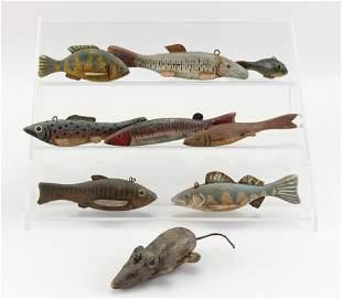 NINE VINTAGE FISH DECOYS Mid- to Late 20th Century