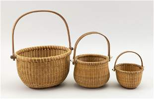 THREE SMALL NANTUCKET BASKETS Contemporary Heights to