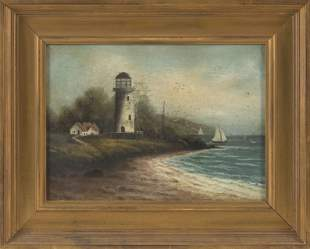 AMERICAN SCHOOL (Early 20th Century,), Harbor scene