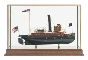 """CASED MODEL OF THE TUGBOAT """"BROOKLYN"""" Contemporary Case"""